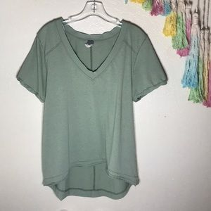 🥑FREE PEOPLE v neck distressed Cotton Tee